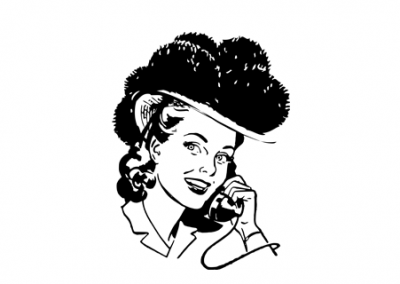 Schwarzwaldmädle am Telefon, schwarz