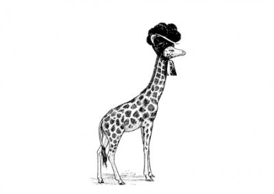 Giraffe mit Bollenhut, schwarz