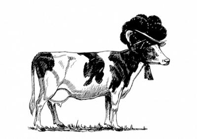 Kuh mit Bollenhut, schwarz
