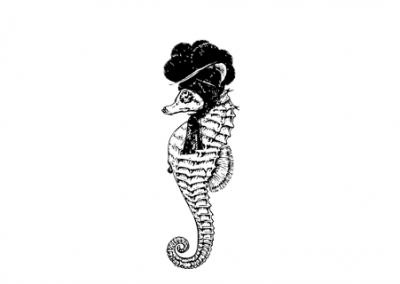 Seepferdchen mit Bollenhut, schwarz