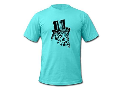 bollengut_Schwarzwald_T-Shirt_eule-mit-zylinder-maenner-t-shirt-von-american-apparel