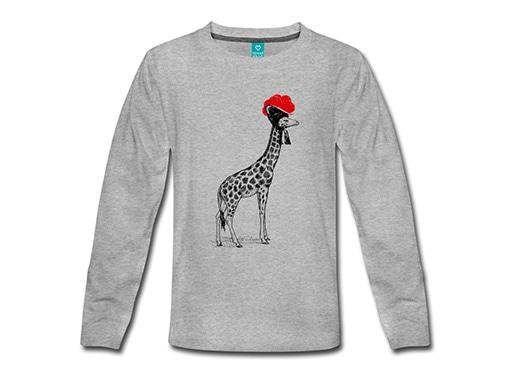 bollengut_Schwarzwald_T-Shirt_giraffe-mit-bollenhut-kinder-premium-langarmshirt