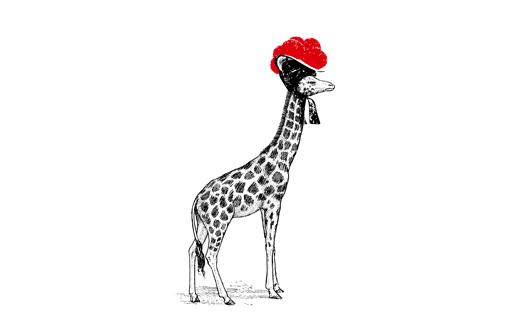 Giraffe mit Bollenhut