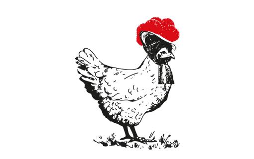 Huhn mit rotem Bollenhut