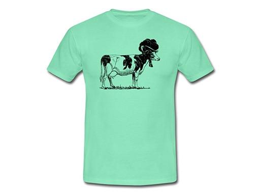 Schwarzwald T-Shirt: Kuh mit Bollenhut, schwarz