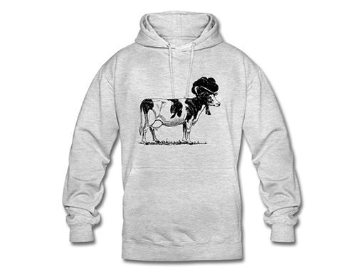 Schwarzwald Hoodie: Kuh mit Bollenhut, schwarz