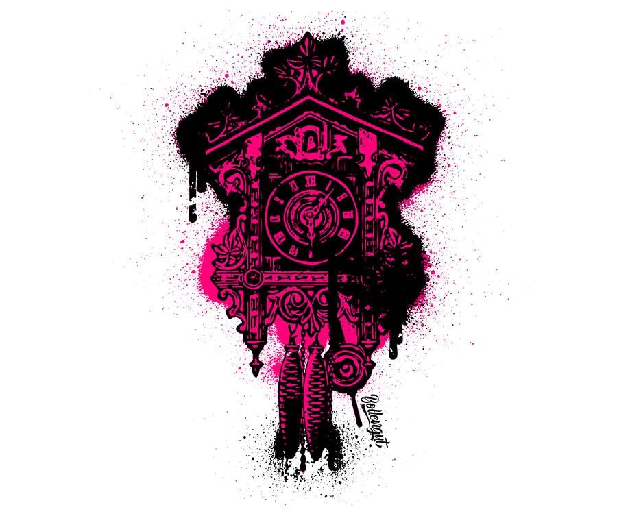 Grafitti Kuckucksuhr Pink