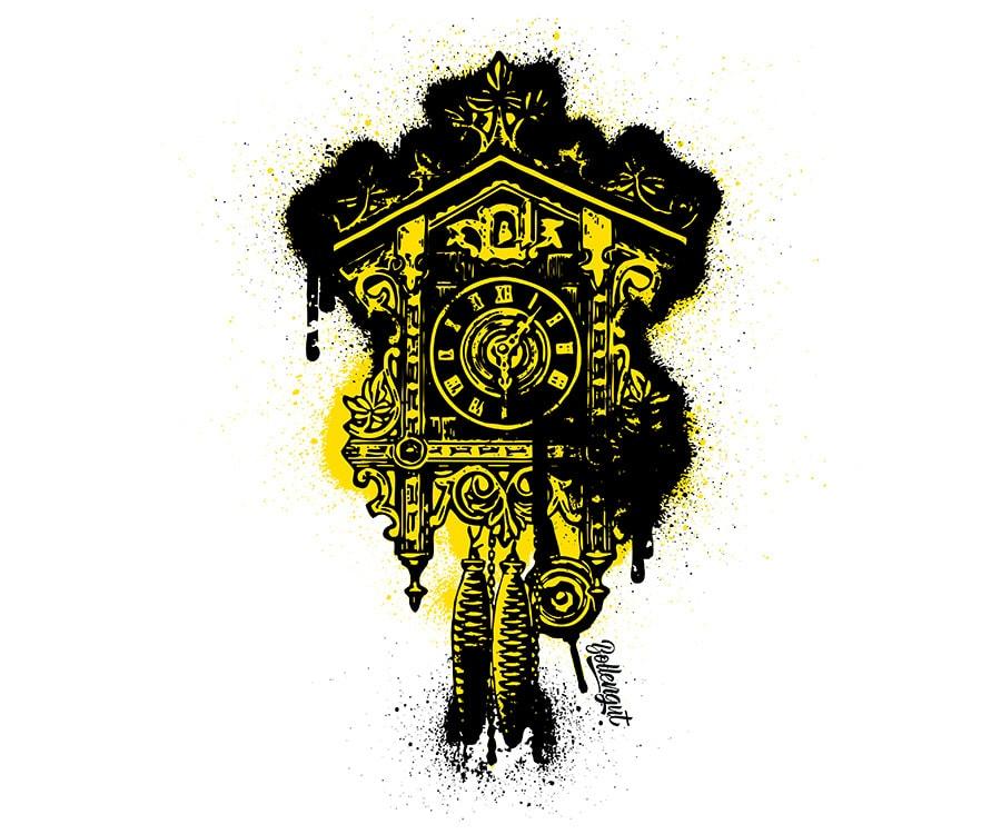 Grafitti Kuckucksuhr Gelb