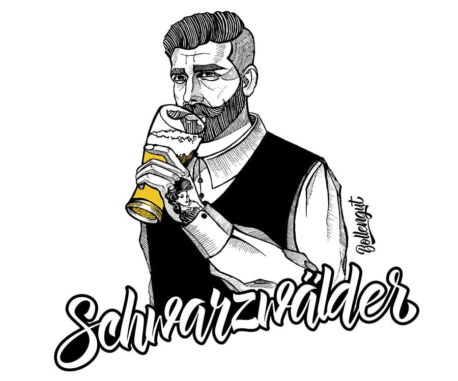 Schwarzwälder Benno mit Bier ohne Kontur