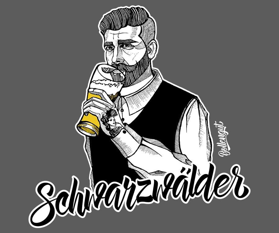 Schwarzwälder Benno mit Bier mit Kontur