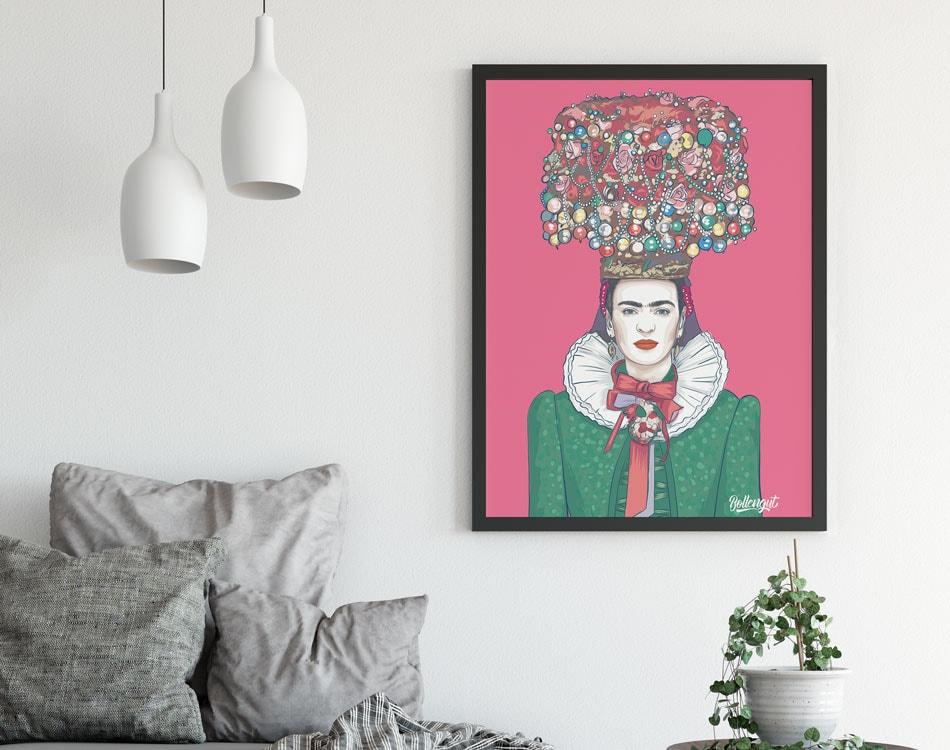 Mockup_Poster_Frida_pink_Bollengut_Wandbilder